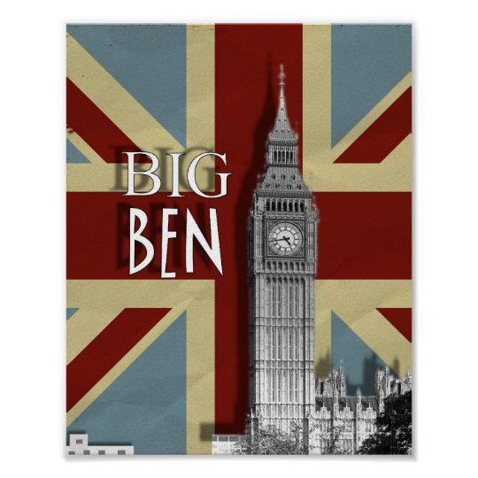London Big Ben Union Jack Modern Wall Art