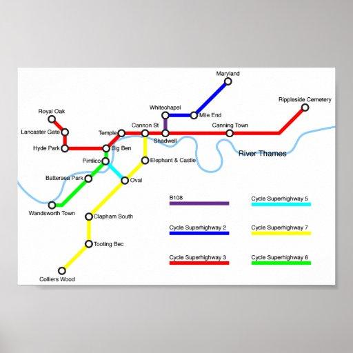 London Bike Map Poster