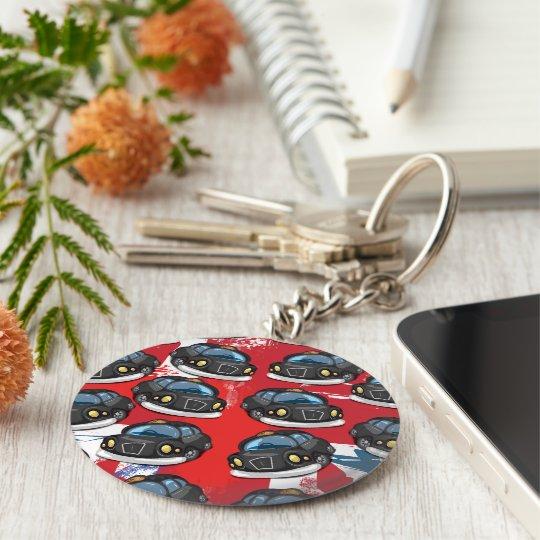 London Black Cab Basic Round Button Key Ring