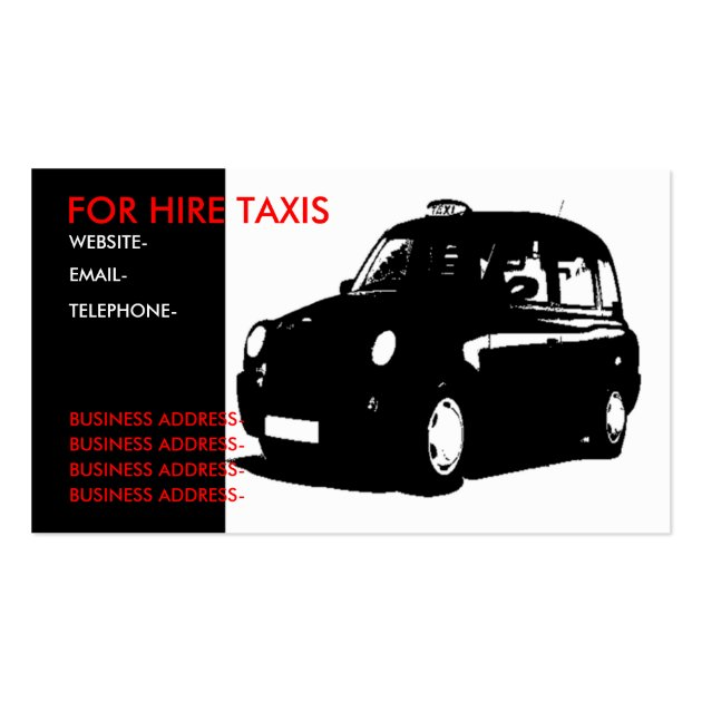 London black cab business card template for Taxi business card template