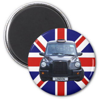 London Black Taxi Cab 6 Cm Round Magnet