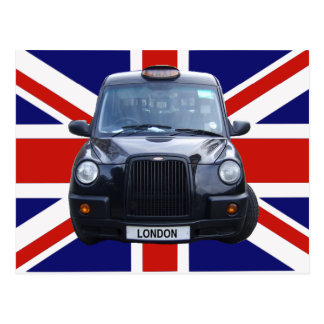 London Black Taxi Cab Postcard