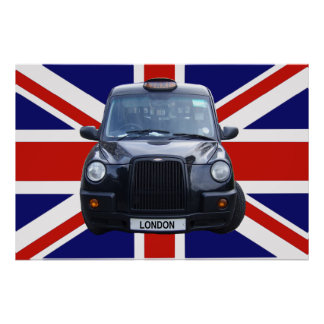 London Black Taxi Cab Poster