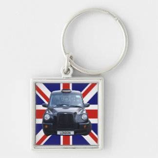 London Black Taxi Cab Silver-Colored Square Key Ring