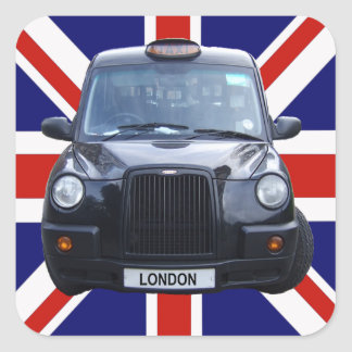 London Black Taxi Cab Square Stickers