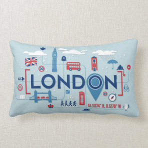 London Blue & Red Icons Lumbar Cushion
