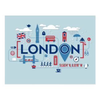London Blue & Red Icons Postcard