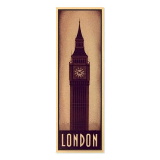 London Bookmark Card with Big Ben Silhouette Business Card Templates