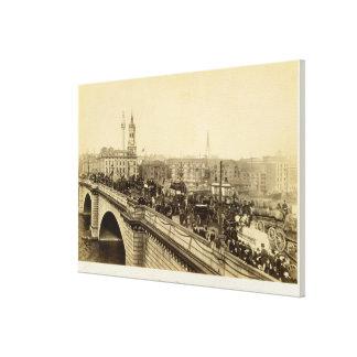 London Bridge, c.1880 (sepia photo) Stretched Canvas Print