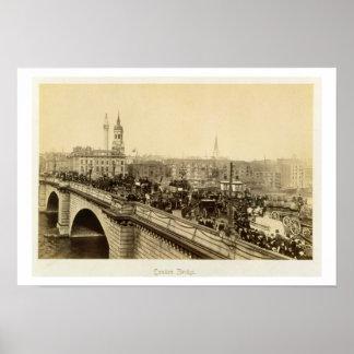 London Bridge, c.1880 (sepia photo) Poster