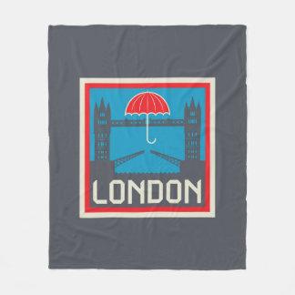 London Bridge with Umbrella Fleece Blanket