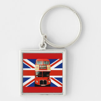 London Bus and British Flag Silver-Colored Square Key Ring