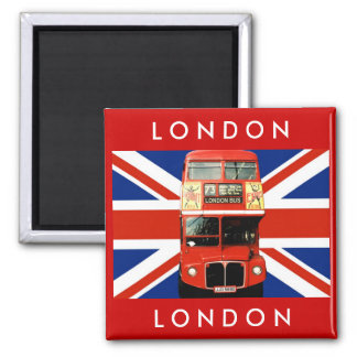 London Bus and British Flag Square Magnet