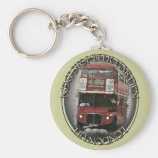 London Bus Basic Round Button Key Ring