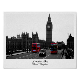 London Bus, Big Ben and the Houses of parliament Print