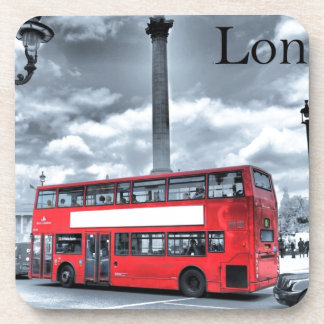 LONDON BUS in Black & White (St.K) Coaster
