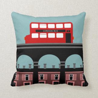 London Bus On A Bridge Throw Pillow