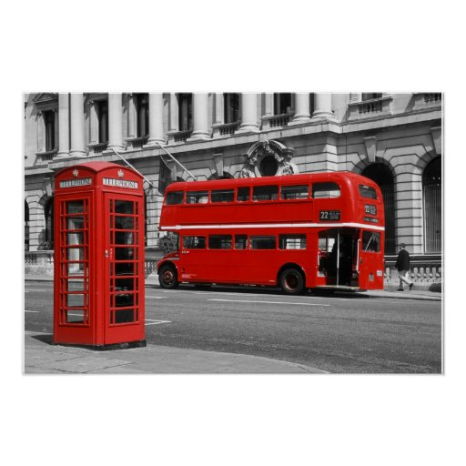 London Bus & Red Telephone Box Posters