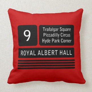 London Bus Route Sign Throw Pillow