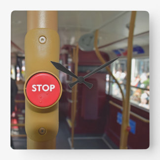 London bus stop button square wall clock