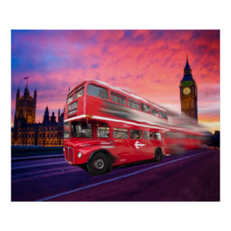 London Bus Sunset Canvas Poster