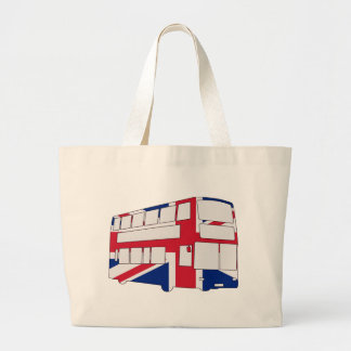 London Bus with Union Jack t shirts and gifts Large Tote Bag