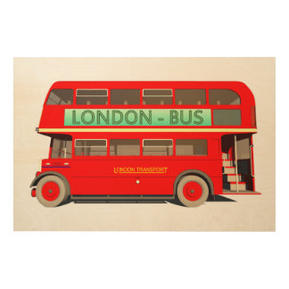 London Bus Wood Wall Art