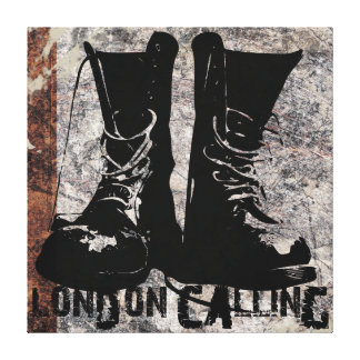 """London Calling Boots"" Digital Collage Art Gallery Wrapped Canvas"