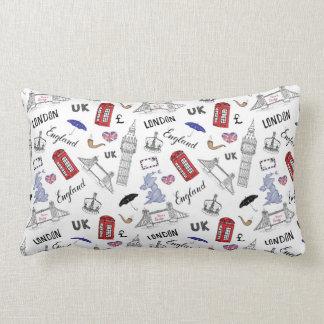 London City Doodles Pattern Lumbar Pillow