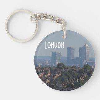 London Cityscape - Canary Wharf photo Double-Sided Round Acrylic Key Ring