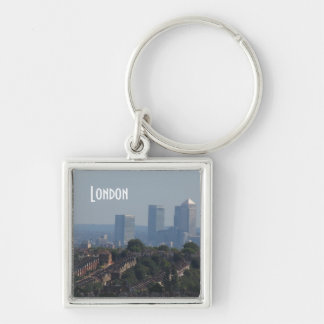 London Cityscape - Canary Wharf photo Silver-Colored Square Key Ring