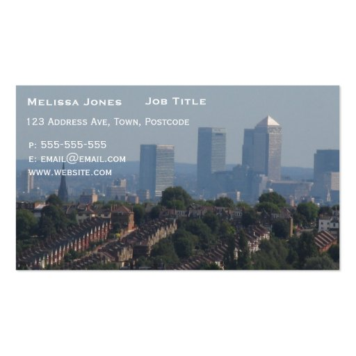 London Cityscape - Canary Wharf photo Pack Of Standard Business Cards
