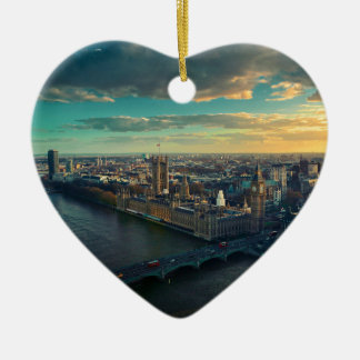 London Cityscape with Sunset Ceramic Heart Decoration