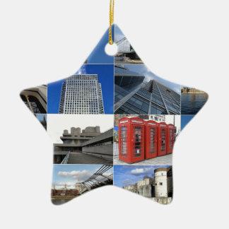 London collage ceramic star decoration