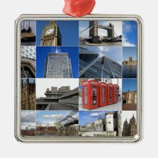 London collage Silver-Colored square decoration