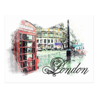 London Colored  Sketch Postcard