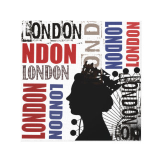 London Crown Modern Collage Canvas Black Blue Red Canvas Prints
