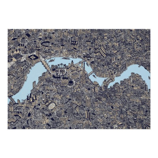 london detailed map thames drawing colour poster