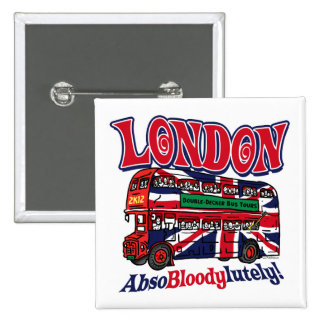 London Double-Decker Bus by Mudge Studios 15 Cm Square Badge
