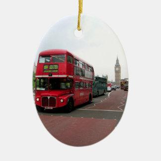 London Double-decker Bus Ceramic Oval Decoration