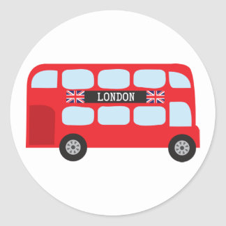 London double-decker bus classic round sticker