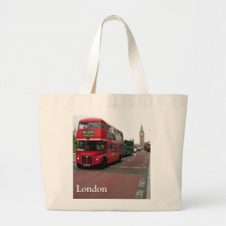 London Double-decker Bus Customized Large Tote Bag