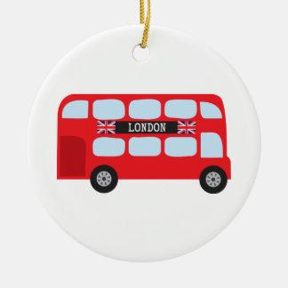 London double-decker bus round ceramic decoration