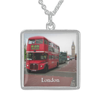 London Double-decker Bus Personalized Sterling Silver Necklace