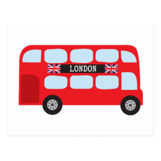 London double-decker bus postcard