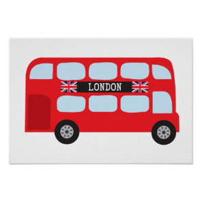 London double-decker bus poster