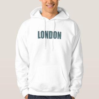 London (elegant blue & grey typography) hoodie