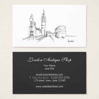 London Elegant Classy Sophisticated Store Antique Business Card