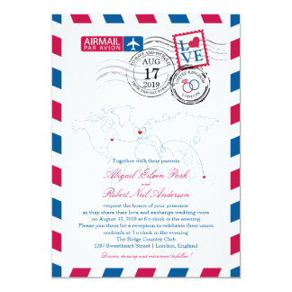 London England Airmail | Wedding 13 Cm X 18 Cm Invitation Card