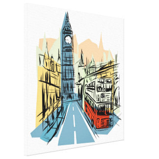 London England artistic city scape wall canvas Gallery Wrap Canvas